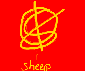 weird symbol with the word sheep underneath i