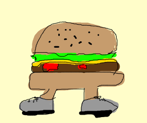 burger with tennis shoes on