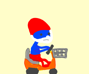 Papa smurf on electric scooter for old people