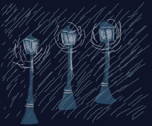 City lights in the rain