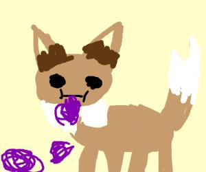 Eevee eating some sort of purple goo
