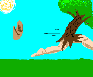 Hand reaches/waves at tree man whos leaving