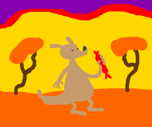 a kangaroo holding salami