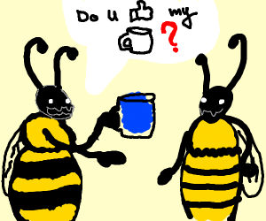 A wasp asking a bee if she lies mugs
