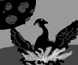 a black phoenix with black moon