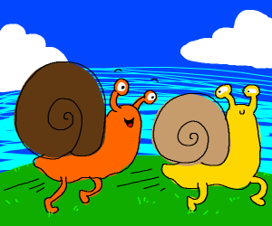 Two snails with legs chasing each other
