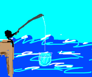Man fishes up a fishbowl