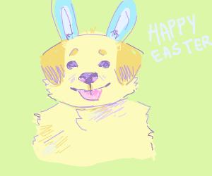 golden retriever wearing bunny ears