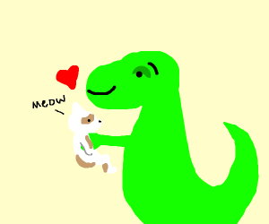 Toy Dinosaur, likes cats too much.