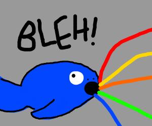 Whale makes rainbow