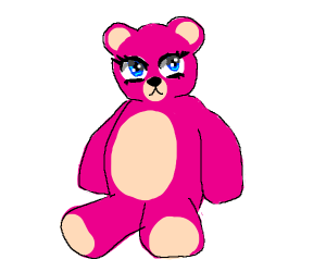 Pink teddy bear with enormous anime eyes