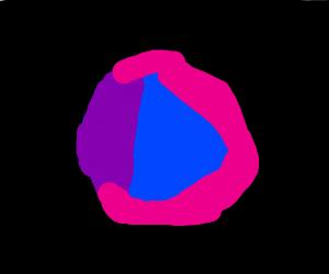 Circle painted fuchsia, purple and blue