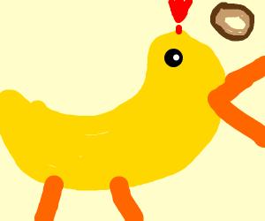 Duck alarmed by wide variety of skinny bagels