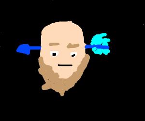 Bald man with a blue arrow on his forehead