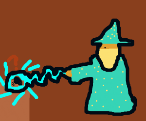 Mage illuminating a confused spider