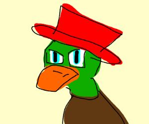 Duck w/ blue anime eyes wearing a red hat