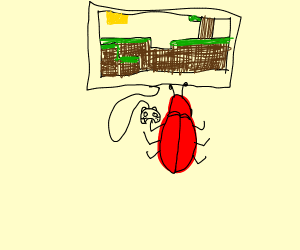Red bug playing Minecraft