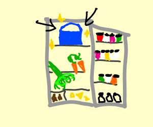 handbag in fridge