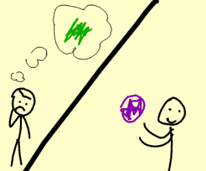 guys thinks of green but gets purple