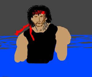 Rambo staring threateningly