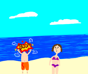 a man exploding by a beach