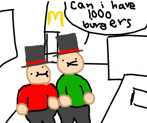 fat guys with top hat orders at mcdonalds