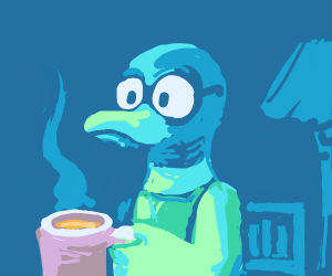 A Duck Having A Nice Coffee