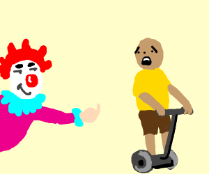 Man on segue looks at clown
