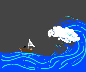 A sail boat about to be hit by a massive wave