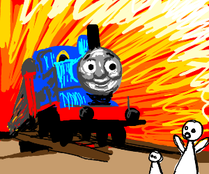 Thomas the train is gon' crash over a family