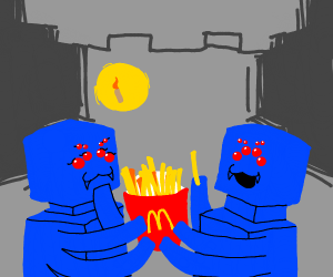 Cave spiders share McDonalds fries