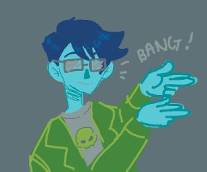 Blue guy shooting finger guns