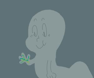Casper the friendly ghost finger-pistols