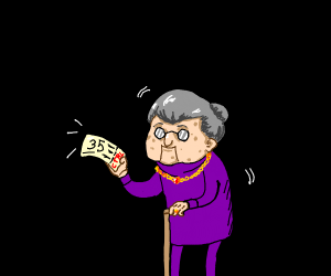 """old woman has ticket """"35"""""""