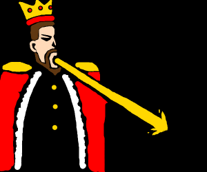 King fires a lazer with his mouth