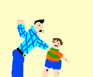 Abusive father beats his son