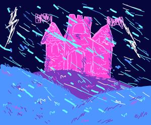 a castle during a storm