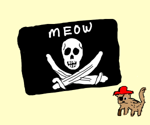 """Meow"" pirate cat flag"