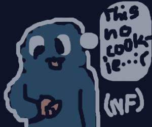 Cookie Monster eating prawns