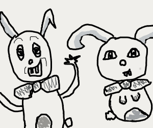 Two rabbits with bow-ties