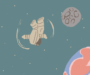 spinning man in space