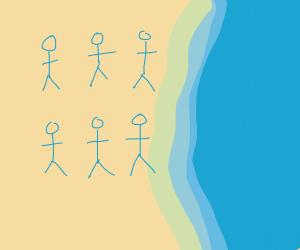 6 Dolls At Beach