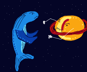 A whale and Saturn in a battle