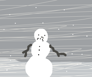 sad snowman with snowing background