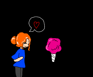 redhead asks cotton candy on a date