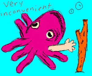 blue octopus with one human arm/hand