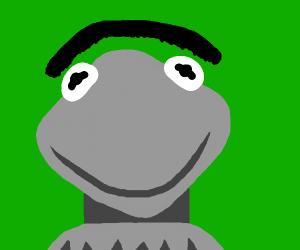 Weird grey Kermit with giant floating eyebrow