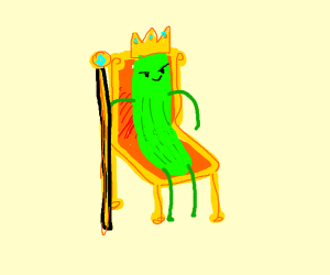 King Pickle sitting on the throne