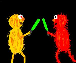 Yellmo VS Elmo in a Light saber Duel