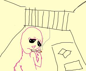 melancholy pink alien smokes